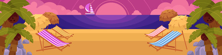Sun chairs, palms and rocks on beach with yacht and sunset of background, summer vacation horizontal banner, flat cartoon vector illustration. Beach scene with sunset, sea, yacht and lounge chairs Иллюстрация