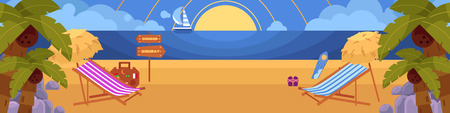 Vector flat illustration of tropical sea beach vacation, travelling panorama with loungers, palms clean sand, sailing ship, flip flops surf and water to the horizon. Illustration