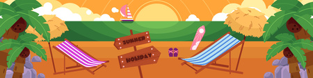 Vector flat illustration of tropical sea beach vacation, travelling panorama with loungers, palms clean sand, sailing ship, flip flops surf water to the horizon holiday, summer inscription on pointer. Illustration