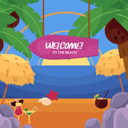 Vector flat illustration of tropical sea beach vacation, travelling panorama with loungers, palms clean sand, sailing ship, water to the horizon, welcome to the beach inscription on surf
