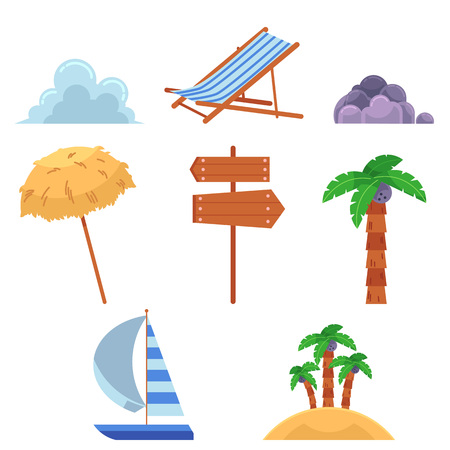 Set of summer vacation elements, icons - palms, beach chair, umbrella, wooden sign, lounge yacht, clouds, rocks, flat cartoon vector illustration isolated on white background. Set of summer elements