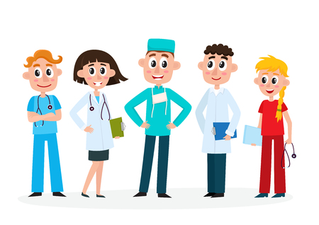 Set of doctors, nurse and surgeon, medical staff, hospital employees, cartoon, comic vector illustration isolated on white background. Cartoon set of doctors, surgeon and nurse in medical uniforms. Illustration
