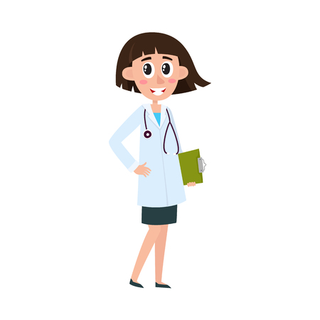 Flat vector cartoon woman doctor in white medical clothing with stethoscope holding clipboard with blank paper. Adult female character with modern haircut isolated illustration on a white background.
