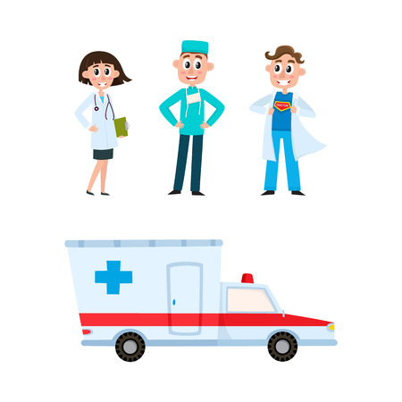 vector flat cartoon adult male super doctor, head physician, surgeon in medical clothing, uniform holding clipboard stethoscope smiling, ambulance car set. Isolated illustration on a white background