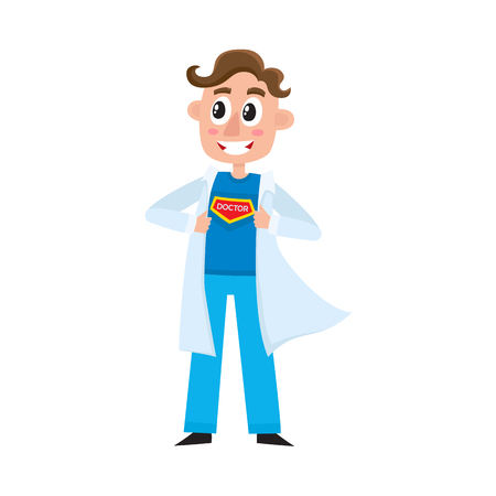 Young male doctor, therapist, intern opening his medical gown and showing superhero symbol on his chest, cartoon vector illustration isolated on white background doctor superhero concept.