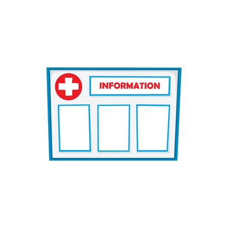 Flat vector cartoon style waiting room interior information stand, board with symbols, blank space for text isolated illustration on a white background.