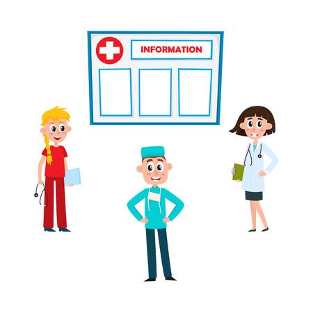 フラットベクトル女性ブロンドとブルネットの医師と看護師は、クリップボード、聴診器、男性外科医、情報ボードアイコンセット白い背景に孤立