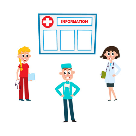 Flat vector female blonde and brunette doctor and nurse in medical clothing holding clipboard, stethoscope, male surgeon, information board icon set isolated illustration on a white background. Ilustração