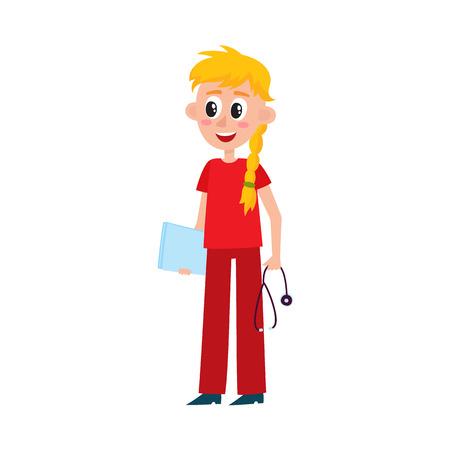 De jonge mooie verpleegster, arts, intern in schrobt het houden van stethoscoop en medische grafiek, beeldverhaal vectordieillustratie op witte achtergrond wordt geïsoleerd. Volledig lengteportret van jonge arts, intern of verpleegster.