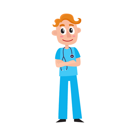 Young male doctor therapist intern in scrubs standing with folded arms wearing stethoscope, cartoon vector illustration isolated on white background. Full length cartoon portrait of young male doctor. Ilustração