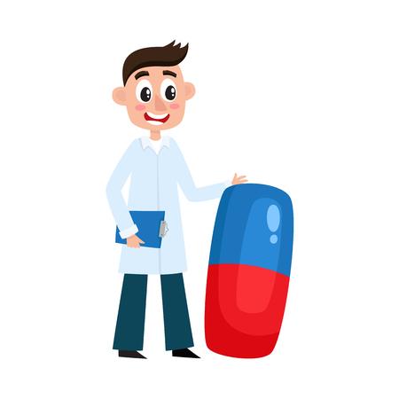 ベクトルフラット漫画成人男性医師、大きな巨大な錠剤を保持する白い医療服のガウンの医師、クリップボードの笑顔。白い背景に分離されたイラ  イラスト・ベクター素材