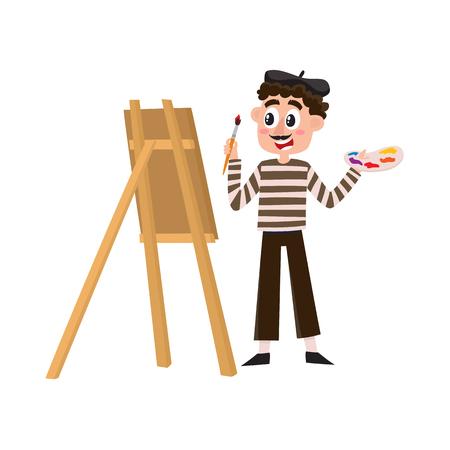 Franse schilder, kunstenaar met snor, gestreepte shirt en baret, cartoon vectorillustratie geïsoleerd op een witte achtergrond. Typische, stereotiepe Franse kunstenaar, schilder in borstel met baret.