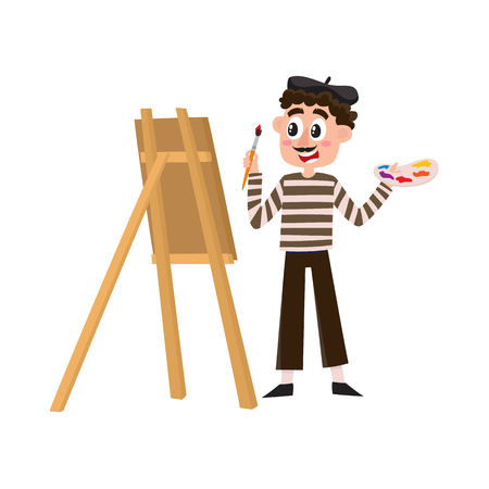 French painter, artist having mustache, striped shirt and beret, cartoon vector illustration isolated on white background. Typical, stereotypical French artist, painter in beret holding brush.