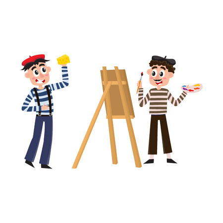 Vector flat french Parisian culture, traditional people. Male character wearing traditional pants on suspenders, beret eating cheese, man artist drawing with brush at canvas. Isolated illustration.