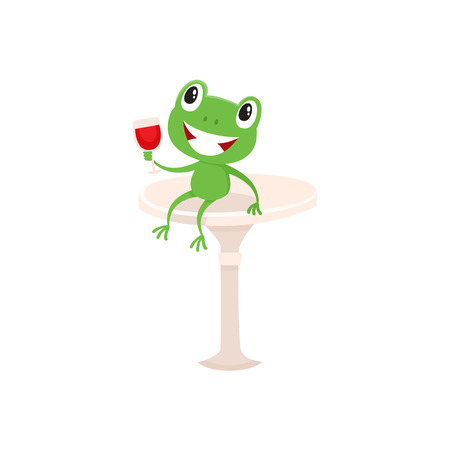 Funny little green frog sitting on a bar chair with glass of French red wine, cartoon vector illustration isolated on white background. Symbols of France, French culture, frog and red wine.