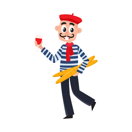 French man in striped shirt, beret and necktie holding wine glass and baguettes, cartoon vector illustration isolated on white background. French stereotypes - striped shirt beret, wine and baguettes. Stock Illustratie