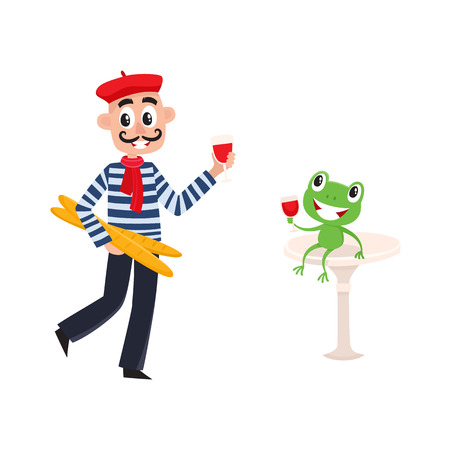 Cartoon vector young man in scarf striped pullover beret holding baguette bread loafs and glass of red wine, frog sitting with wine. French Parisian style isolated illustration on a white background.