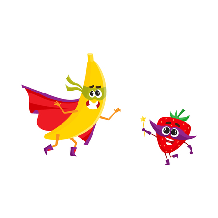 Vector flat cartoon funny fruit, vegetable character in masks set. Banana in cape and mask standing in fight position, strawberry holding magic wand with star. Isolated illustration white background. Illustration