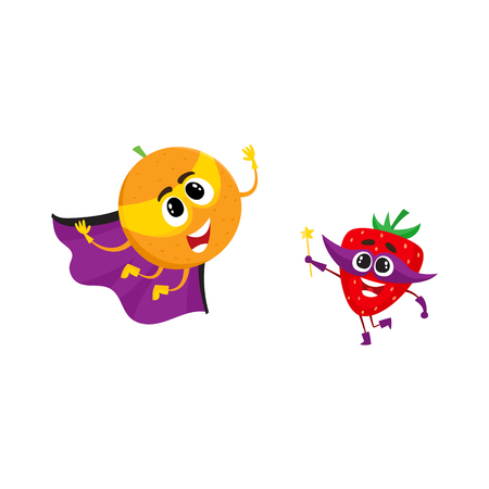 Vector flat cartoon funny fruit, vegetable character in masks set. Orange in cape and mask flying , strawberry holding magic wand with star. Isolated illustration on a white background. Illustration