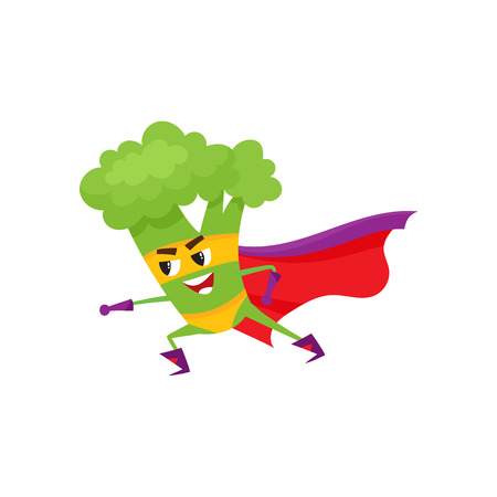 Vector flat cartoon broccoli character in red cape, mask standing in fight position. Isolated illustration on a white background. Funny fruit, vegetable super hero protecting people health. Vettoriali