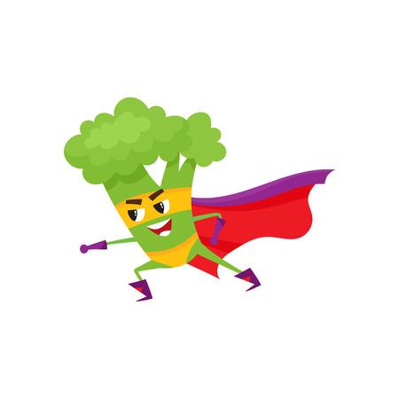 Vector platte broccoli stripfiguur in rode cape, masker staande in strijd positie. Geïsoleerde illustratie op een witte achtergrond. Grappig fruit, plantaardige superheld die de gezondheid van mensen beschermt. Stock Illustratie
