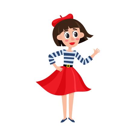 Vecteur plat dessin animé belle jeune femme en béret feutre rouge, jupe longue, t-shirt rayé souriant. Portrait de femme dans le style parisien sur toute la longueur. Illustration isolée sur fond blanc