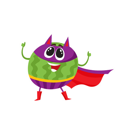 Watermelon fruit hero, superhero character, guard, defender, comic, cartoon style vector illustration isolated on white background. Watermelon character, hero in superhero costume, mask and cape.