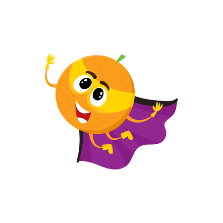 Vector flat cartoon orange character in yellow mask, cape. Isolated illustration on a white background. Funny humanized fruit and vegetable super hero protecting peoples health.