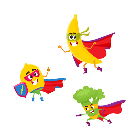 Vector flat cartoon funny fruit, vegetable character in masks set. Lemon holds shield , broccoli ready to fight, banana standing in cape. Isolated illustration on a white background. Illustration