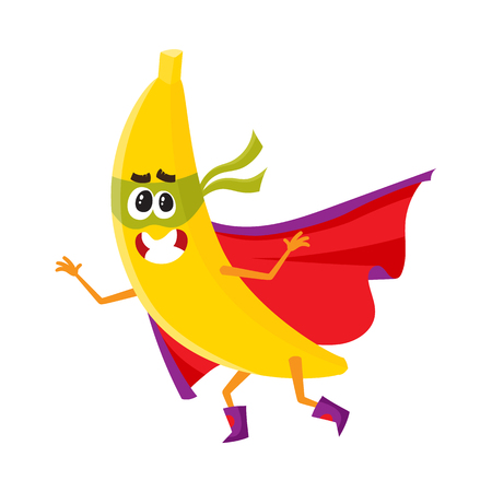Vector flat cartoon banana character in red cape, mask dashing. Isolated illustration on a white background. Funny stylized humanized fruit and vegetable super hero protecting peoples health concept. Illustration