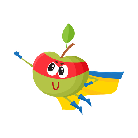 Vector flat green apple character in yellow cape, red mask flying like superhero. Isolated illustration on a white background Stylized humanized fruit and vegetable super hero protecting people health.