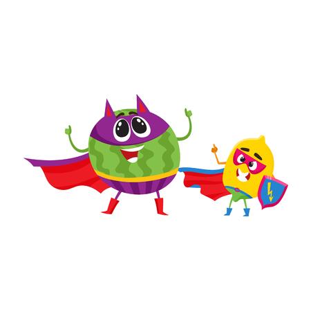 Vector flat cartoon funny fruit, vegetable character in masks set. Lemon protector standing holding shield, devil horns watermelon stands like villain. Isolated illustration on a white background. Ilustração