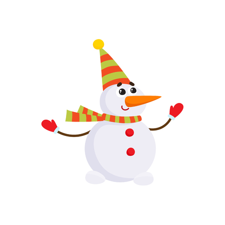 Cute, funny snowman with carrot nose in striped hat and scarf, cartoon vector illustration isolated on white background. Cartoon snowman character - two snowballs, carrot nose, striped scarf, mittens.