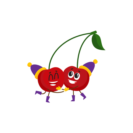 Vector cartoon winter fruit character - happy cherries in party outdoor hats, boots hugging. Isolated illustration white background. New year Christmas poster design element.