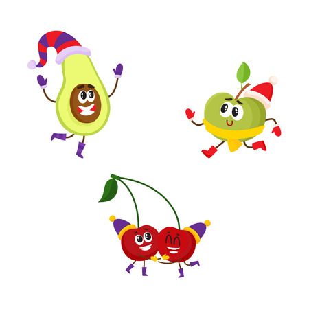 Vector flat winter fruit characters icon set. Happy apple character running pear dancing, cherry having fun in party hat. Isolated illustration on a white background. Illustration