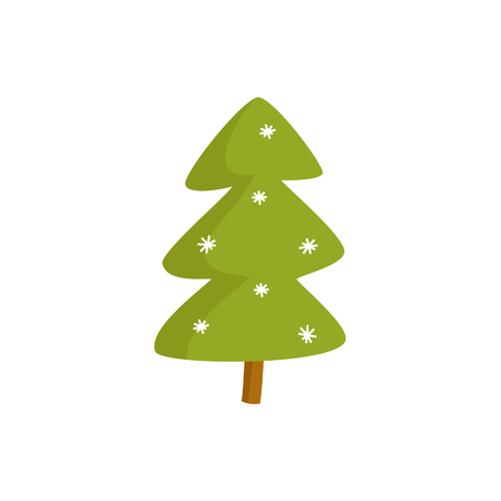 Vector flat winter symbols - spruce tree with snowflakes. Christmas, new year holiday sign icon. Isolated illustration on a white background.