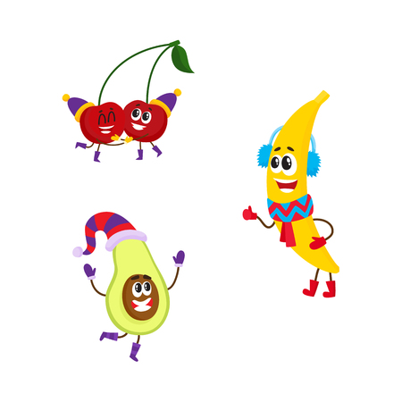 Vector flat winter fruit characters icon set. Happy banana character in warm scarf, boots, headphones, pear, cherry having fun in party hat. Isolated illustration on a white background.