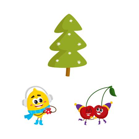 Vector platte winter fruit symbool pictogramserie. Gelukkig citroenkarakter in warme sjaal, laarzen, koptelefoon met warme drank, thee, koffiekopje, vuren boom, kers in feestmuts. Geïsoleerde illustratie.