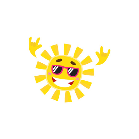 Happy funky sun character in sunglasses showing rock and roll gesture, cartoon vector illustration isolated on white background. Happy rock n roll sun character in sunglasses symbol of summer vacation. Illustration