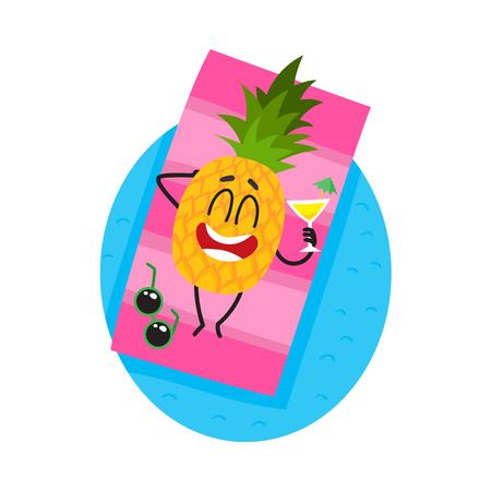 Grappig ananaskarakter dat op het strand met een cocktail, beeldverhaal vectordieillustratie ligt op witte achtergrond wordt geïsoleerd. Ananas stripfiguur genieten van zomervakantie op het strand