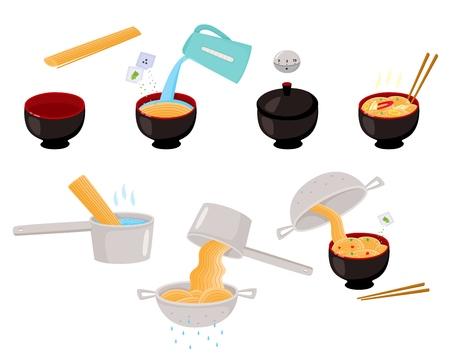 Stap voor stap instant en udon noodle kookinstructies, vectorillustratie geïsoleerd op een witte achtergrond. Stap voor stap instructies voor het koken van Aziatische, Chinese, Japanse noedels, platte vector set