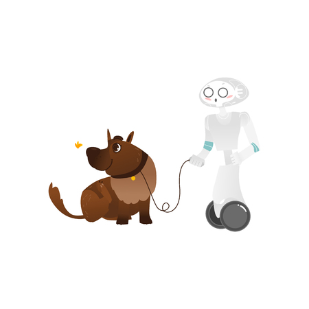 Wheeled robot assistant walking the dog on a leash, artificial intelligence concept, flat cartoon vector illustration isolated on white background. Funny robot character walking a big brown dog Illusztráció