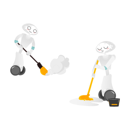 Vector robots, artificial intelligence in modern life concept. Wheeled cyborg assistant helping with household chores, cleaning, sweeping, washing floor . Isolated scene illustration, white background Vettoriali