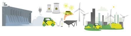 vector plana renovável, conjunto de ícones de energia alternativa. Represa hidroelétrica, painel solar, reator nuclear, moinho de vento, centrais elétricas, tomada de poder com fio, carro bonde que carrega, cidade verde moderna isolada.