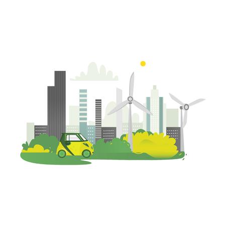 Vector flaches modernes ökologisches Stadtikonenkonzept mit grünen hohen Geschäftswolkenkratzern auf Hintergrund des grünen Parks, der Windmühle und des Elektroautos. Getrennte Abbildung auf einem weißen Hintergrund