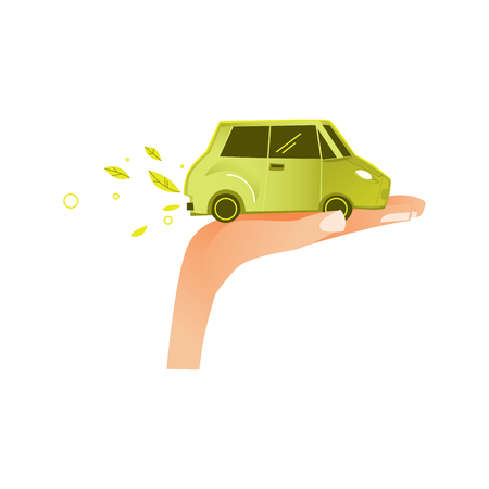 vector flat businessman opened hand palm keeping green ecological electric car vehicle exhausting green leaves. isolated illustration on a white background. Illustration