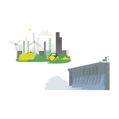 ベクトルフラット漫画水力発電ダム発電所、グリーンシティコンセプトセット。水力発電所と工場。グリーンエコロジカル再生可能電力資源。白い