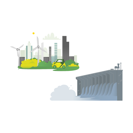 vector flat cartoon hydroelectric dam power station, green city concept set. Water power plant and factory. Green ecological renewable electricity resource. Isolated illustration on a white background Vettoriali