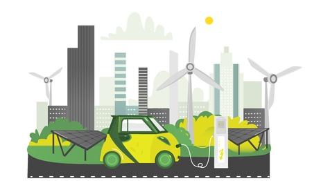 Oplaadstation voor elektrische voertuigen met alternatieve energie, zonnepanelen en windmolens. Stock Illustratie