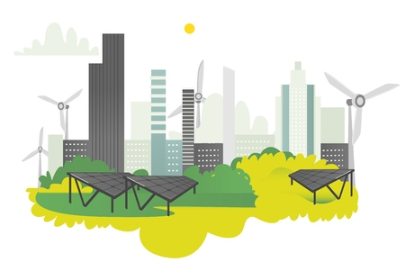 Vector flat modern ecological city icon concept with green high business skyscrapers on background of green park, windmills and solar panels. Isolated illustration on a white background.